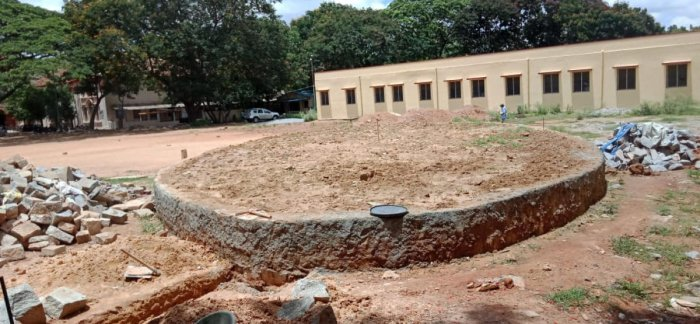 The construction of open air auditorium is in progress at Government arts college ground, near KR Circle.