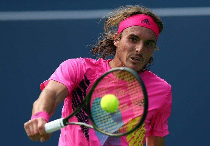 BIG WIN: Stefanos Tsitsipas of Greece returns during his win over Novak Djokovic in the third round of the Rogers Cup. AFP