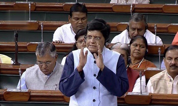 New Delhi: Union Finance Minister Piyush Goyal speaks in the Lok Sabha during the Monsoon session of Parliament, in New Delhi on Friday, Aug 10, 2018. (LSTV Grab via PTI) (PTI8_10_2018_000039B)