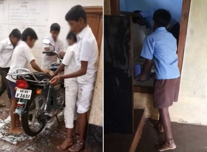 A case of inhuman treatment meted out to government school students has come to light in Badigwad, Gokak taluk, Belagavi district on Friday.Screengrab