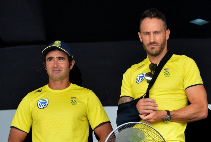 South Africa captain Faf du Plessis (right) might be out of action for a long period due to an elbow injury. AFP File Photo