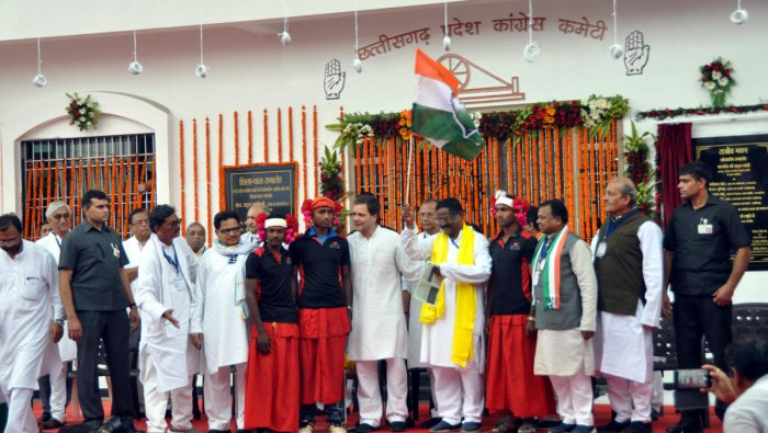 Congress president Rahul Gandhi with party leaders.