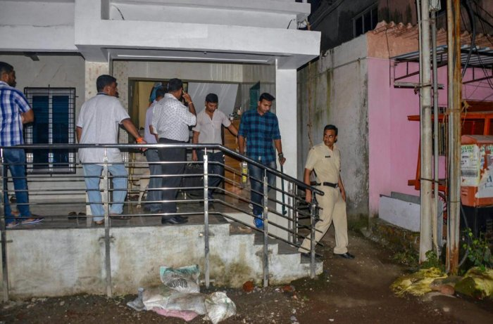 Maharashtra Anti-Terrorism Squad (ATS) raids the house of a Sanatan Sanstha member Vaibhav Raut at Nalasopara, in Palghar on Friday, August 10, 2018. (PTI Photo)