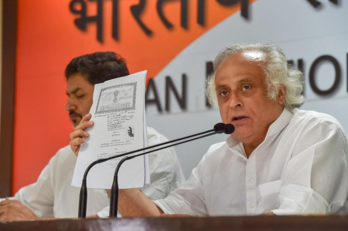 Former Union minister and Congress leader Jairam Ramesh addresses a press conference at AICC headquarters in New Delhi on Saturday. (PTI Photo)