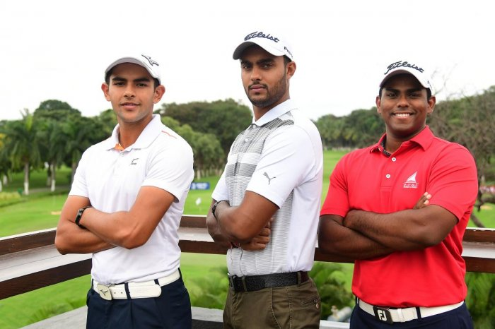 EXCITED: (From left) Asian Games-bound Aadil Bedi, Harimohan Singh and Rayhan Thomas in Bengaluru.