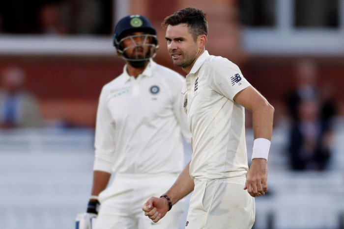 England's James Anderson celebrates the wicket of India's Ishant Sharma. (Action Images via Reuters)