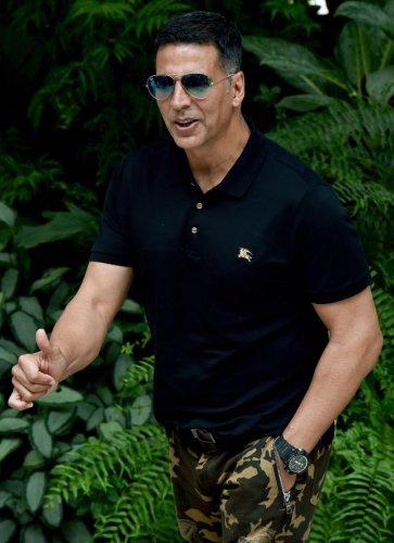 Bollywood actor Akshay Kumar during the promotion of the upcoming film 'Gold', in Kolkata. (PTI Photo)