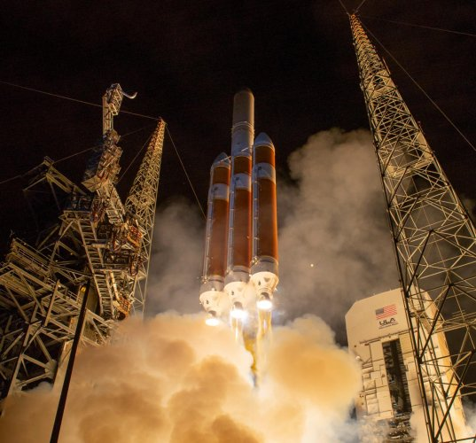 The United Launch Alliance Delta IV Heavy rocket launches Nasa's Parker Solar Probe to the sun at Cape Canaveral, Florida. Nasa/Reuters