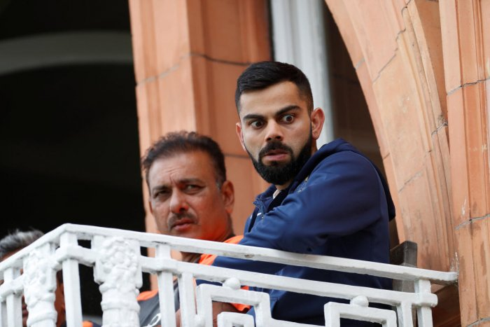 India head coach Ravi Shastri and Virat Kohli during the the second test match at Lord's. (Reuters Photo)