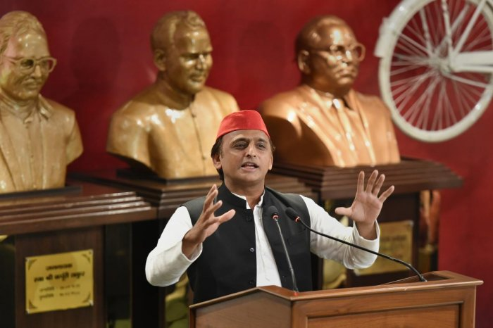 Samajwadi Party President Akhilesh Yadav addresses a press conference at the party office, in Lucknow on Monday, Aug 13, 2018. PTI Photo