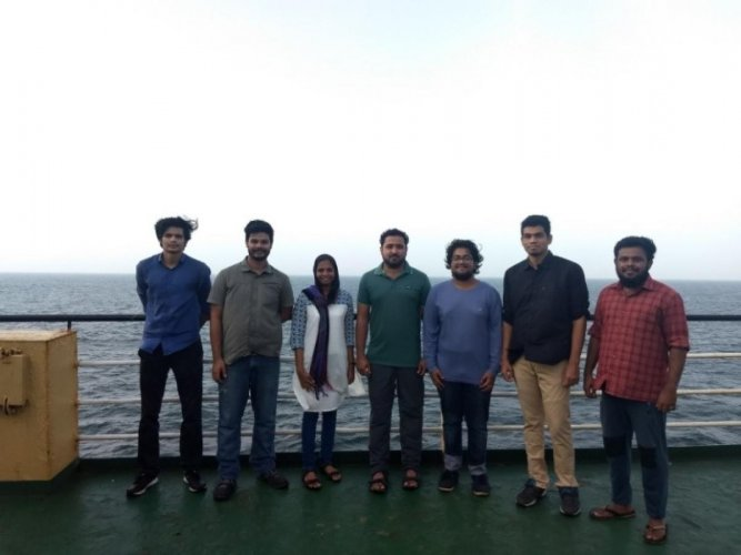 The students of MIT on board the National flagship ORV Sagar Kanya.