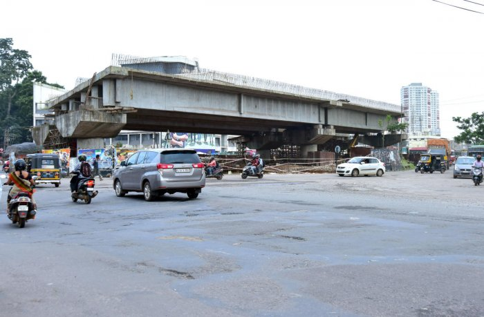The works on flyover at Pumpwell Junction, Mangaluru, moving at a sluggish pace.