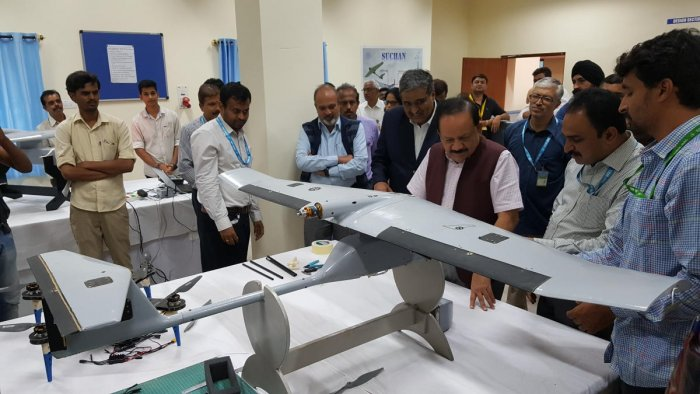 Union Minister Harsh Vardhan inspects the Suchan Unmanned Aerial Vehicle (UAV) at the National Aerospace Laboratories in Bengaluru on Monday.