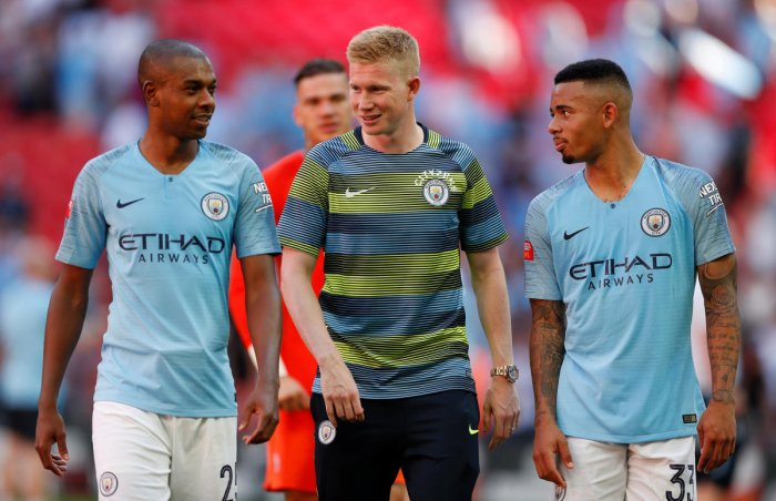 Manchester City's Kevin de Bruyne (centre) believes the club don't need to win the Champions League to be judged a success. Reuters