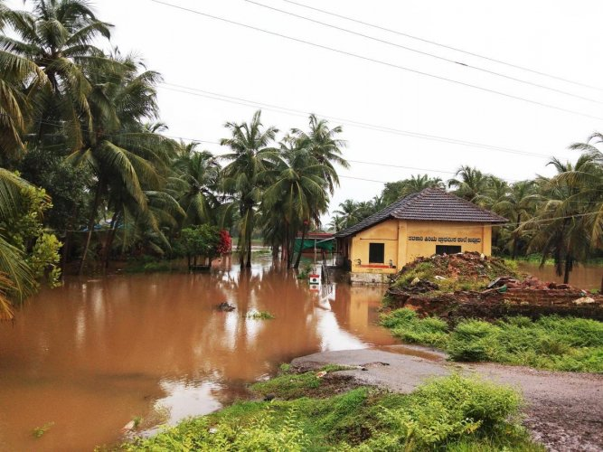 A view of the inundated Uppooru Government school, Udupi district.