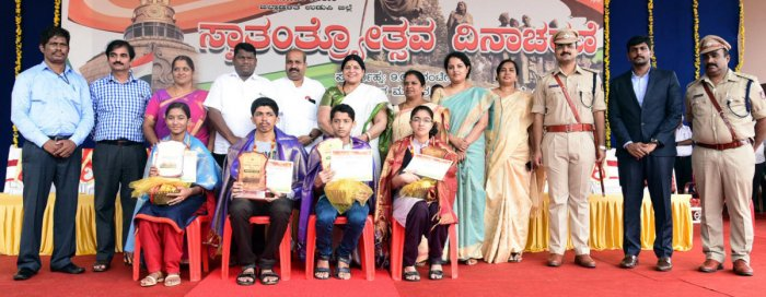SSLC toppers of Udupi district were felicitated during the 72nd Independence Day programme in Udupi on Wednesday.