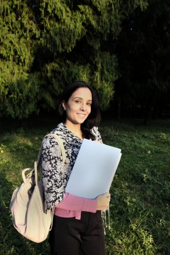 An indian girl going to college for studies in happy moodStudy in India