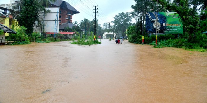 A view of flooded Kukke Subrahmanya.