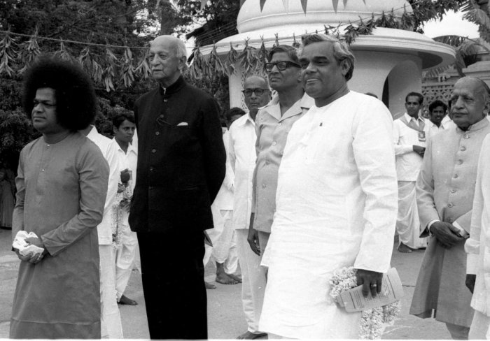 The then prime minister Atal Bihari Vajpayee with Sathya Saibaba and Gen Cariappa and others at Sri Sathya Saibaba Ashram in Whitefield, Bengaluru, June 20, 1978. DH ARCHIVES