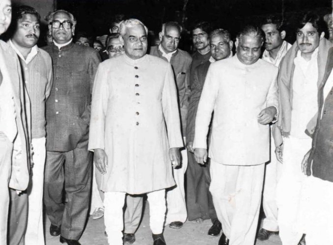 Atal Bihari Vajpayee during the wedding ceremony of Bhairon Singh Shekhawat's daughter in 1982.
