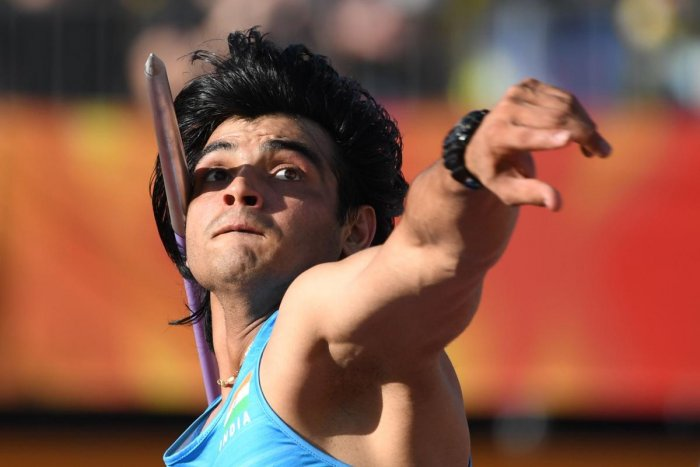 India's Neeraj Chopra competes in the athletics men's javelin throw final during the 2018 Gold Coast Commonwealth Games at the Carrara Stadium on the Gold Coast on April 14, 2018. / AFP PHOTO / WILLIAM WEST