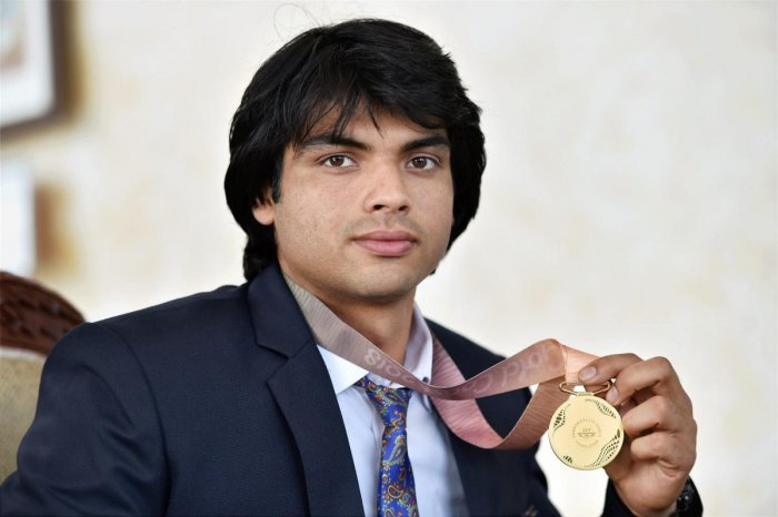 New Delhi: Commonwealth Games 2018, Gold medal winning javelin thrower of Indian Army's Neeraj Chopra during a press interaction at Manekshaw Centre in New Delhi on Wednesday. PTI Photo by Vijay Verma (PTI4_18_2018_000031B)