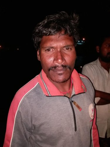The fisherman Nagaraj, a native of Tamil Nadu,accidentally fell overboard his fishing boat 'Krishna Maruthi' without the other crew members noticing the accident.