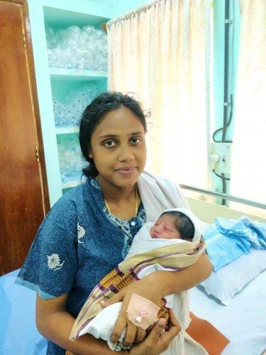 Sajitha at the naval hospital in Kochi. Twitter