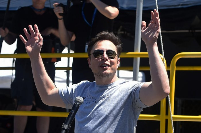Elon Musk speaks at the 2018 SpaceX Hyperloop Pod Competition in Hawthorne, California, on July 22, 2018. AFP