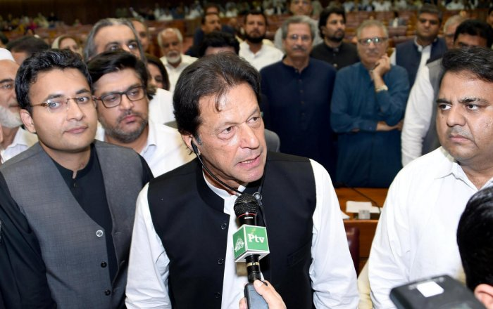 Imran Khan, chairman of Pakistan Tehreek-e-Insaf (PTI) political party speaks after he was elected as Prime Minister at the National Assembly (Lower House of Parliament) in Islamabad, Pakistan August 17, 2018. (Reuters Photo)