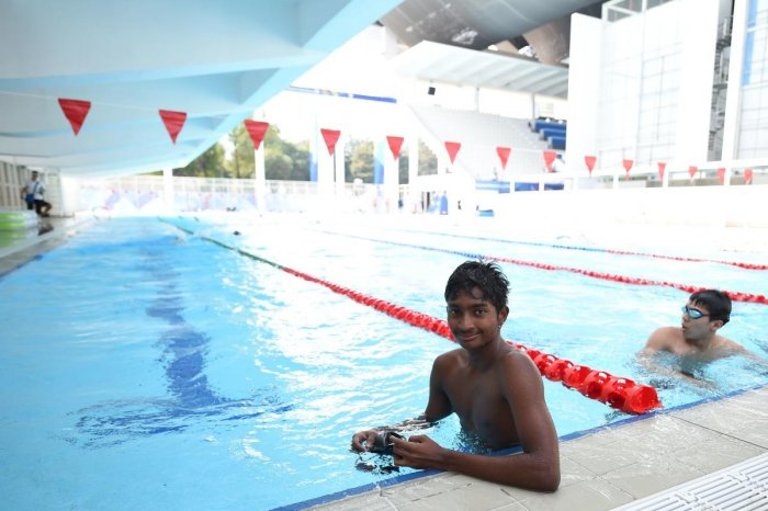 DAREDEVIL Maldives' Haish Hassan has overcome the dangers of swimming in the ocean and will now have a relatively easier task of swimming in a pool. AFP