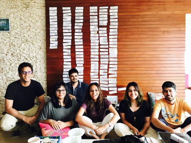 Scripting game on point (From left) Vikramaditya Motwane with writers Smita Singh and Vasant Nath, Neha Sinha Roy, former head of development at Phantom Films, writer-room assistant Mantra Watsa and Varun Grover.