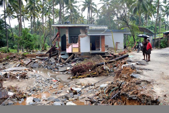House destroyed by a landslide at Kannapanakundu village, about 422 km north of Trivandrum, Kerala. (AFP Photo)