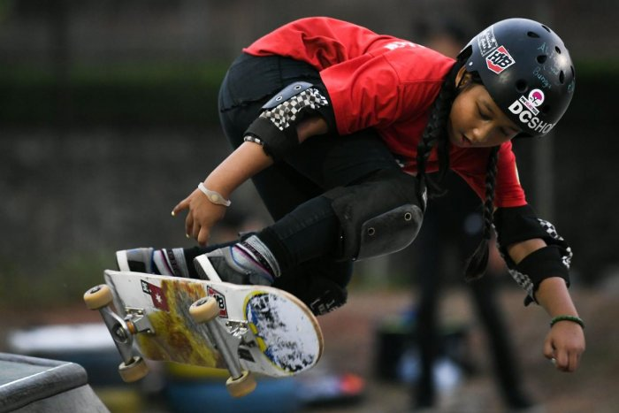 THRILLS Indonesian skateboarder nine-year-old Aliqqa Noverry will be her country's youngest participant at the Games. AFP