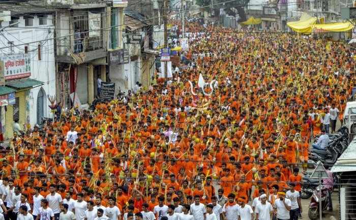 Shiva devotees 'kanwars' arrive after they collect Narmada water to perform rituals during the holy month of 'Shrawan'. PTI file photo