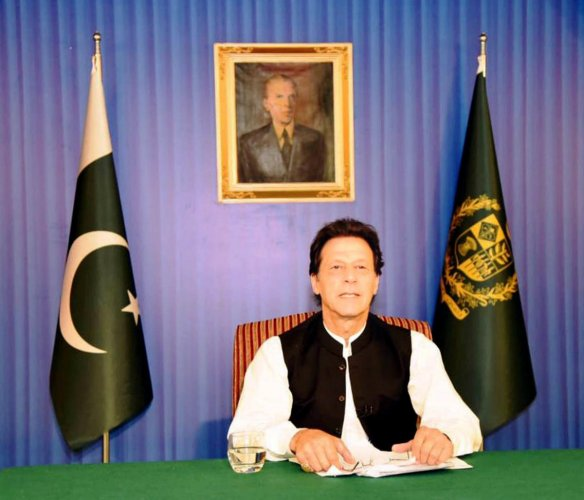 Pakistan's Prime Minister Imran Khan, speaks to the nation in his first televised address in Islamabad, Pakistan August 19, 2018. Press Information Department (PID)/Handout via REUTERS