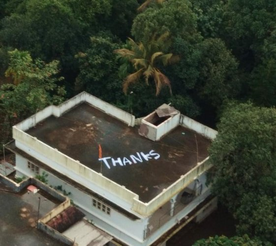 The message painted on the rooftop. Twitter