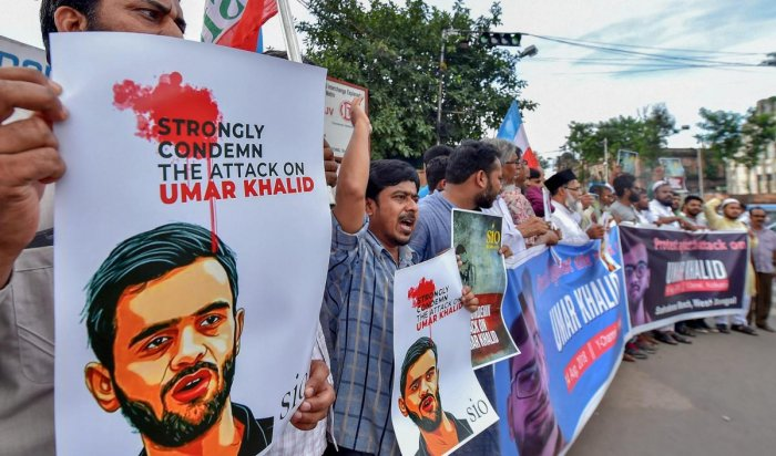 Students Islamic Organisation of India (SIO) members raise slogans during an agitation march to protest against attack on JNU student leader Umar Khalid. PTI file photo