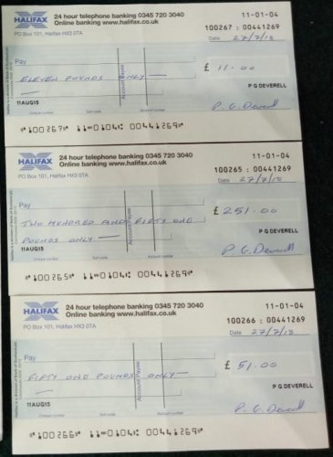 The cheques for a total of 313 British pounds sent by Peter Devarell.