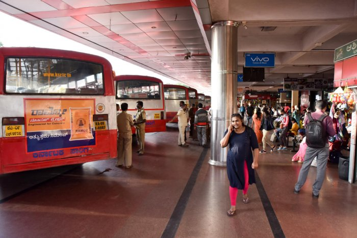 The KSRTC operated three buses from Mangaluru on Sunday night. DH File PHoto