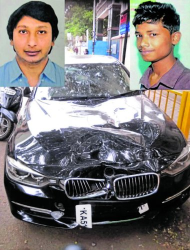 The BMW driven by Oncology surgeon Dr Ravi Teja (top left) that mowed down Kevin Richard on Old Airport Road on Monday.