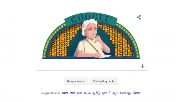 Celebrated Urdu author Ismat Chughtai, known for her literary works exploring free speech, social liberation, and gender equality, was on Tuesday paid homage by search engine giant Google with a colourful doodle on her 107th birthday.