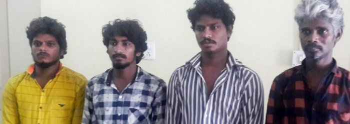 The accused have been identified asKumar alias Baajaka (23), Manja alias Sangappa (24), Krishna (40) and Vijaya Kumar (21), all natives of Mysuru city.