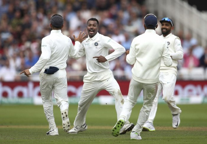 Hardik Pandya celebrates after dismissing England's Chris Woakes on the second day of the third Test at Trent Bridge in Nottingham on Sunday. AP-PTI