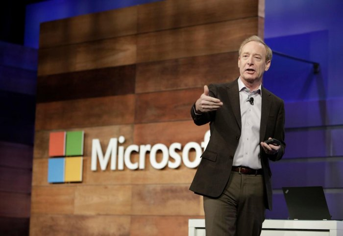 In this file photo taken on November 29, 2017 Microsoft President and Chief Legal Officer Brad Smith speaks during the annual Microsoft shareholders meeting in Bellevue, Washington. AFP File