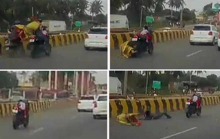 (Clockwise from top) In this video grab combo, a toddler miraculously escaped unhurt riding on a runaway bike for almost 300 metres after the father (rider) and mother (pillion rider) fell off the two-wheeler when they hit a slow-moving motorcycle on the