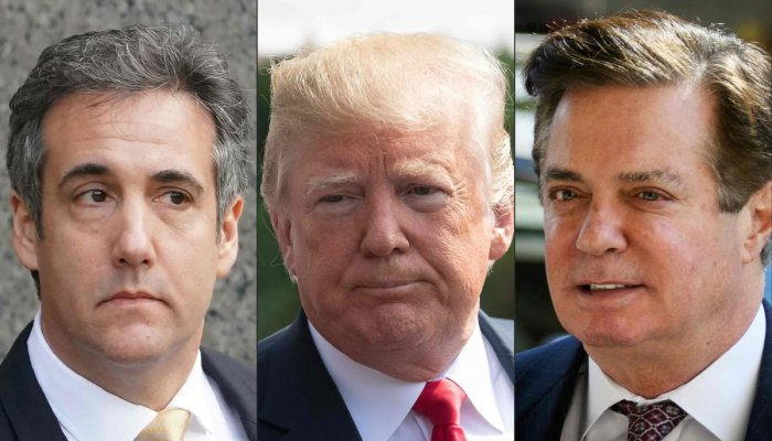 This combination of shows recent images of Michael Cohen, former personal lawyer for US President Donald Trump, US President Donald Trump and former Trump campaign Manager Paul Manafort. AFP