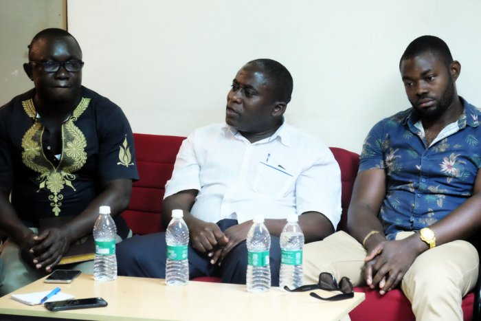 The members of the Pan-African Federation and Students' Union at a press conference in the city on Wednesday.