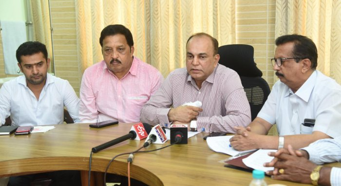 MLC B M Farooq speaks to media persons at Circuit house in Mangaluru on Thursday.