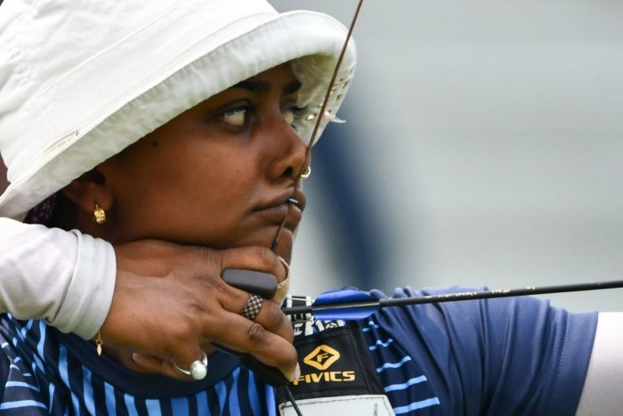 DISAPPOINTING India's Deepika Kumari won one round before crashing out of the recurve women's event. AFP